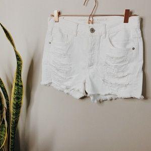 • AMERICAN EAGLE • white high waisted denim shorts